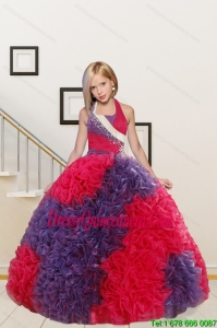 New Arrival Straps Ball Gown Multi Color Flower Girl Dress with Beading and Ruffles