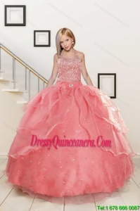 Exquisite Baby Pink Flower Girl Dress with Beading for 2015