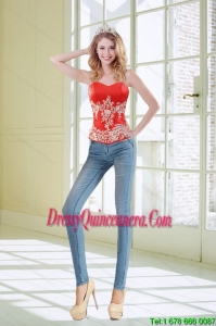 2015 Best Sweetheart Coral Red Corset With Appliques