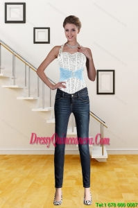 Cute Multi Color Halter Top Sweetheart Corset with Beading