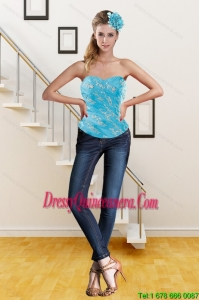 Perfect 2015 Sweetheart Beading Teal Corset with Embroidery