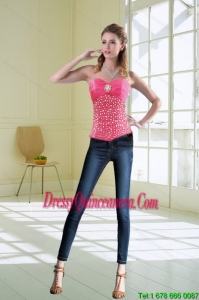 Perfect Pink Beautiful Beading Sweetheart Corset for 2015