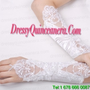 Fabulous Satin Fingerless Elbow Length Bridal Gloves With Appliques