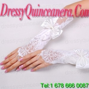 Fancy Satin Fingerless Elbow Length With Lace Bridal Gloves