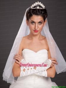 Gorgeous Satin Elbow Length Appliques Fingerless Bridal Gloves