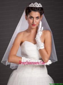Pretty Beading Satin Fingertips Elbow Length Bridal Gloves