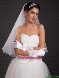 Pretty Bowknot Fingertips Satin Wrist Length Bridal Gloves