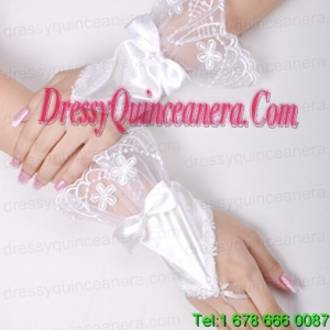 Pretty Satin Fingerless Wrist Length Bridal Gloves With Lace And Bow
