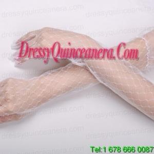 Transparent Voile Fingertips Opera Length Bridal Gloves