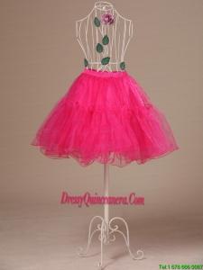 Perfect Hot Pink Organza Mini Length Girls Petticoat