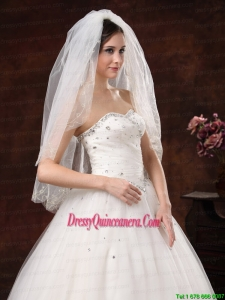 Two Layers Embroidery Tulle Stylish Wedding Veils