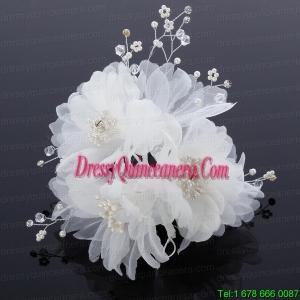 Beautiful Rhinestone Pearl Chiffon Hair Flowers