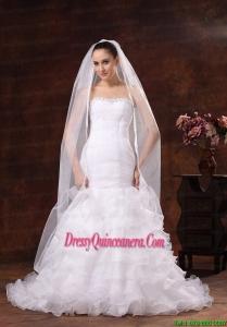 Classical White Organza Veil For Wedding