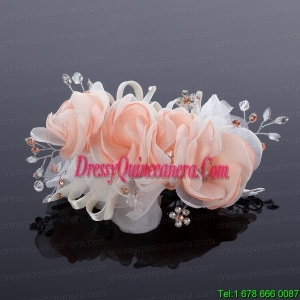 Cute Beading Tulle Peach Hair Flower for Outdoor