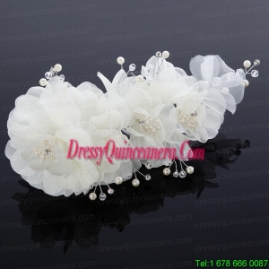 Cute Tulle Wedding Hair Flower with Imitation Pearls