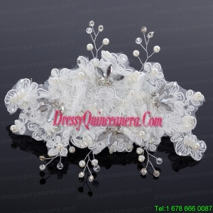 Elegant Imitation Pearls Lace Hair Ornament for Wedding