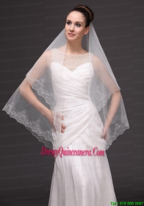 Lace Appliques Tulle Fashionable Bridal Veils For Wedding