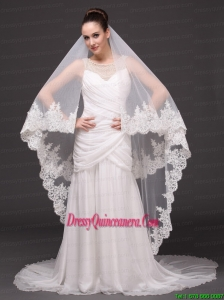 Beautiful Two-tier Cathedral Wedding Veil With Lace Applique Edge