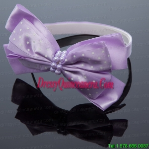 Cute Lavender Bowknot Hairpins Birdcage Veils with Beading