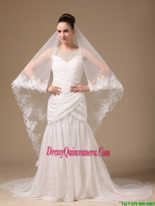 Lace Appliques One-tier Cathedral Tulle Stylish Wedding Veil
