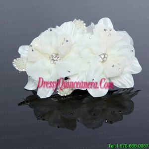 Pretty White Tulle Imitation and Pearls Hair Flower