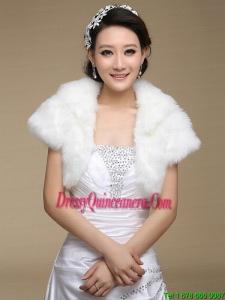 2015 Fashionable Faux Fur White Wraps