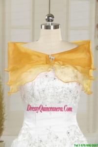 2014 Elegant Organza Beading Shawls for Gold