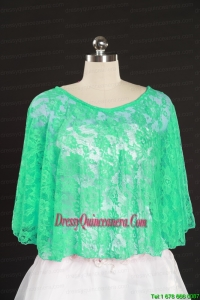 2014 Turquoise Lace Hot Sale Wraps with Beading