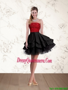 2015 Beautiful Strapless Beading Dama Dresses in Red and Black