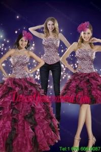 2015 Detachable Strapless Multi Color Quinceanera Dress with Leopard Print
