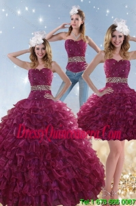 Detachable Burgundy Sweet 15 Dresses with Beading and Ruffles