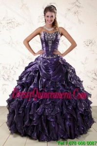 Detachable Purple Sweetheart Floor Length Quince Gowns Embroidery and Ruffles