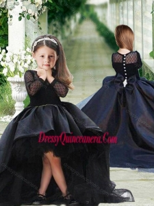 Romantic See Through Long Sleeves Mini Quinceanera Dress in Navy Blue