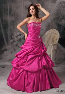 Princess Strapless Floor-length Taffeta Beaded Dresses for Quince in Hot Pink