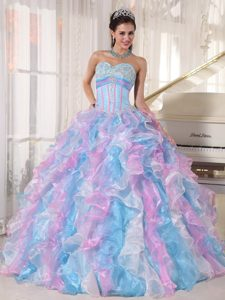 Discount Multi-color Sweetheart Organza Quinceanera Gowns with Appliques