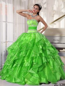 Inexpensive Strapless Organza Quinces Dresses with Appliques and Paillette