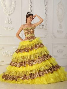 Yellow A-line Strapless Leopard and Organza Ruffled Dress for Quinceanera