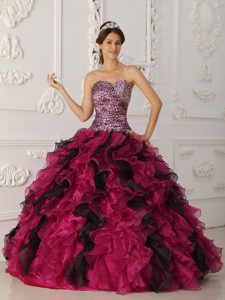Multi-color Leopard and Organza Ruffled Sweet Sixteen Quinceanera Dresses