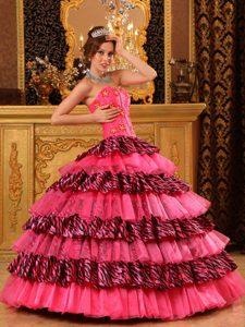 Beautiful Sweetheart Organza and Zebra Beaded Sweet 16 Dress in Hot Pink