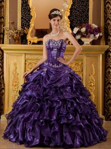 Sweetheart Organza Sweet 15 Dresses with Ruffles and Appliques in Purple