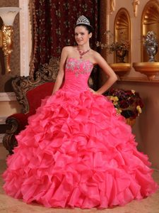 Hot Pink Strapless Organza Quinceaneras Dress with Beading and Appliques