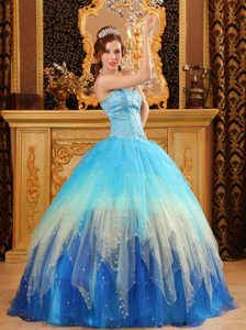 Gorgeous Beaded Satin and Organza Blue Sweet Sixteen Quinceanera Dresses