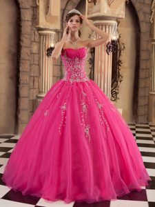 Sweetheart Organza Sweet 15 Dresses with Beading in Hot Pink On Promotion