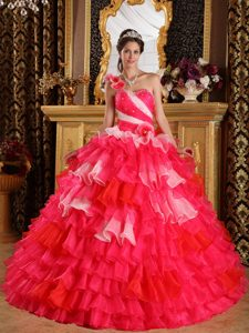 Red One Shoulder Quinceanera Gowns in Organza with Ruffles and Beading