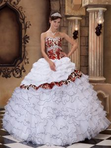 Beaded White Sweetheart Organza and Leopard Quince Dresses with Ruffles