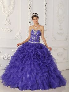 Cheap Purple Ball Gown Sweetheart Quince Dress in Satin and Organza