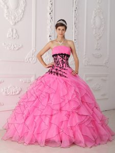 Discount Strapless Dresses for Quinceanera with Appliques and Ruffles