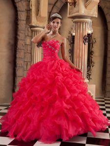 Sweetheart Ruffled Quince Dress with Sweetheart in Red on Promotion