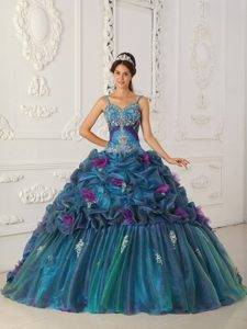 Straps Chapel Train Cheap Teal Ball Gown Sweet 16 Dresses in Organza