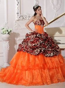 Pretty Orange Ball Gown Sweetheart Quinceanera Dress with Appliques